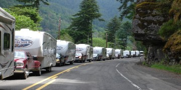 RVs driving down the road