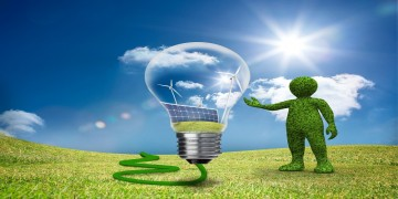 Green guy showing wind and solar power