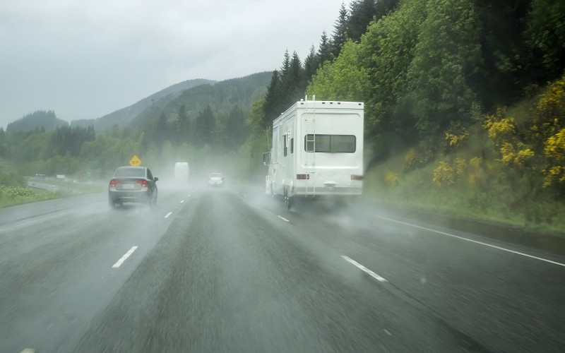 RV driving in rain
