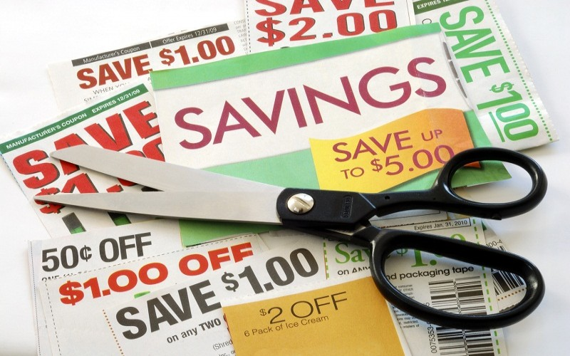 scissors on top of coupons