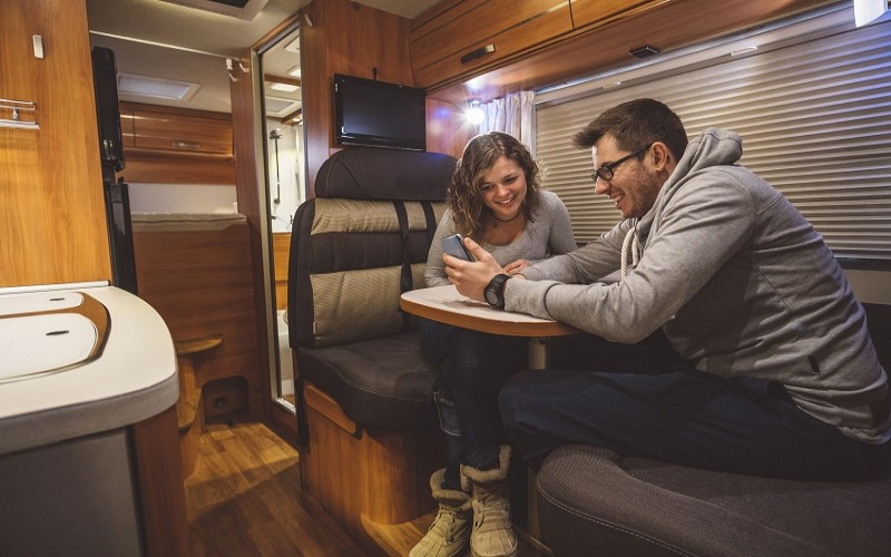 Young couple in their RV