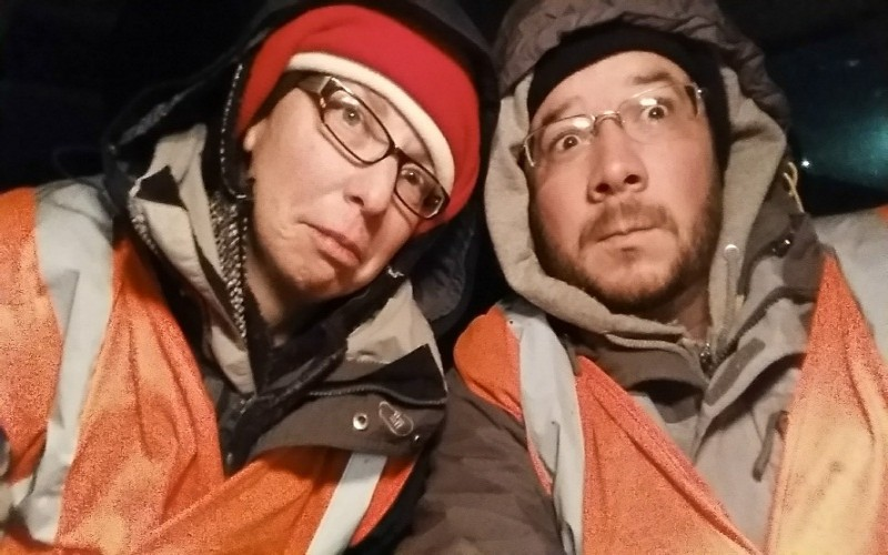 Bundled up to work Beet Harvest
