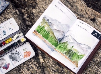 The finished product from water color painter sketching a mountain side [Photo Credit: Adventure Journal Photography]