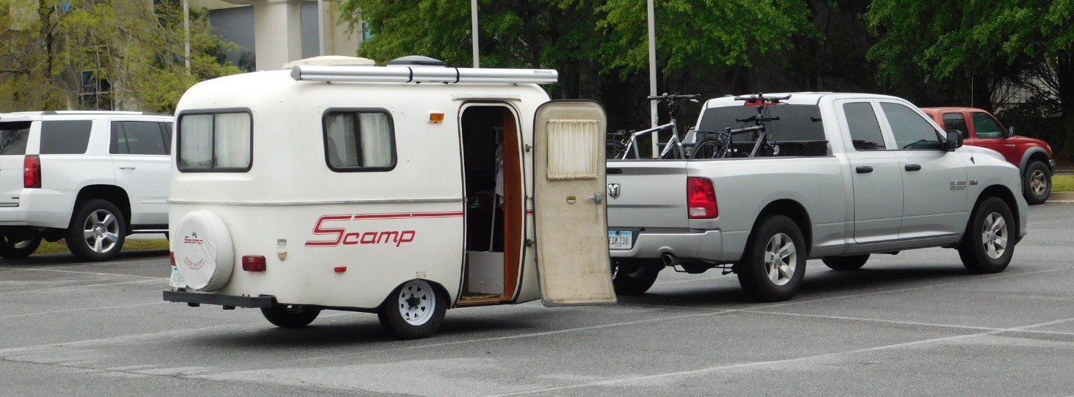 The Gays Scamp Travel Trailer And Truck In Museum Parking Lot Photo Credit