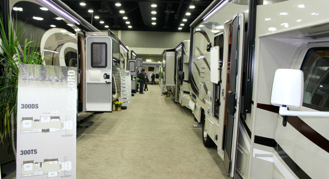 An Aisle Of RVs At The National RV Show In Louisville, Kentucky. [Photo Credit: Tim Wassberg]