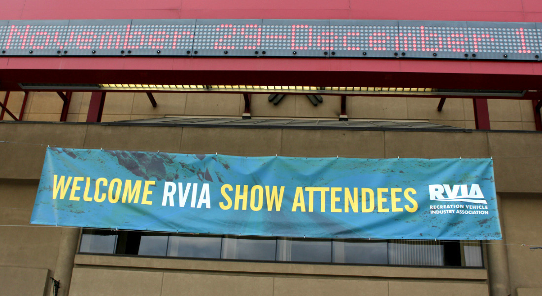 Banner Proclaiming The National RV Show In Louisville, Kentucky. [Photo Credit: Tim Wassberg]