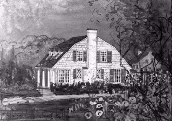 Early Painting Of The Shaker Heights House [Photo Credit: Shaker Heights Public Library]