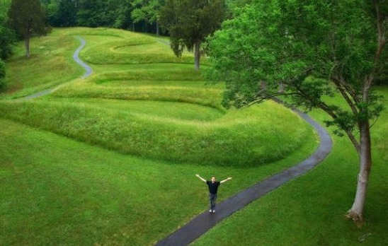 Man Excited To See The Great Serpent Mound In Ohio [Courtesy: Serpent Mound]