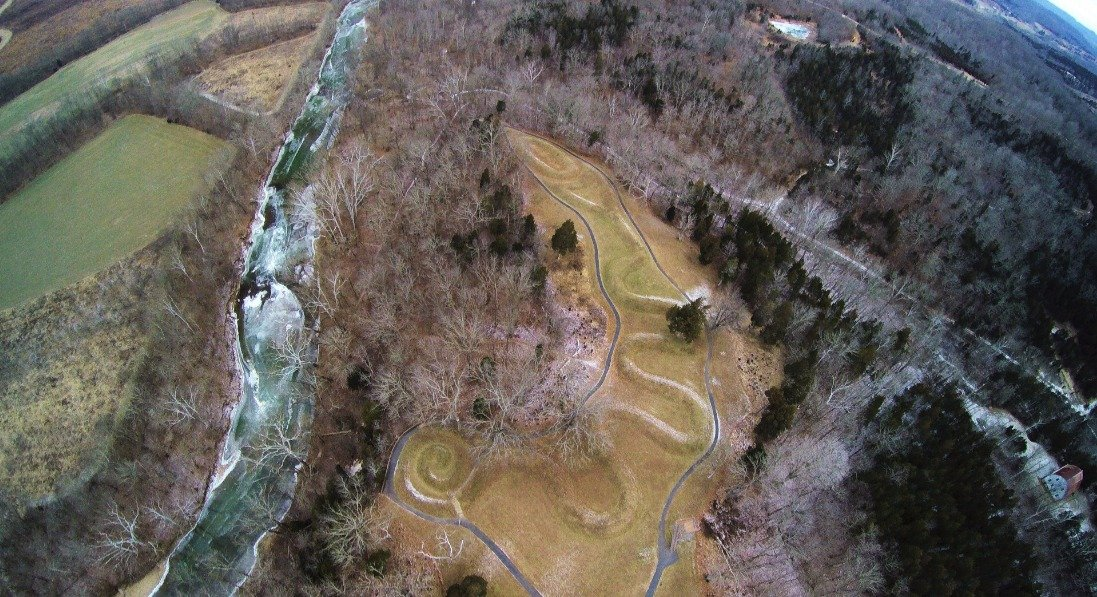 Bird's Eye View Of The Great Serpent Mound Along The River [Courtesy: Serpent Mound]