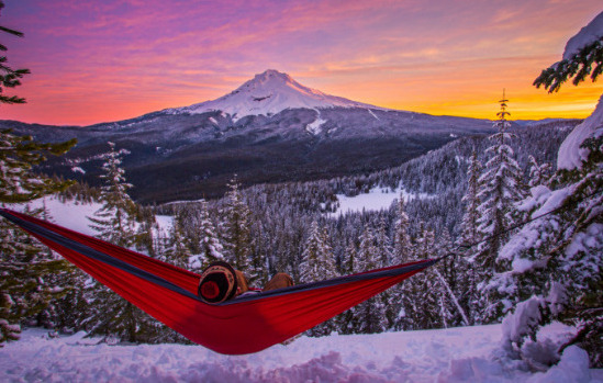 Relaxing In The Cold Mountains With The Trek Hammock [Courtesy/Trek Light Gear]